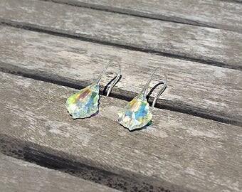 Earrings baroque swarovski crystal AB Silver 925