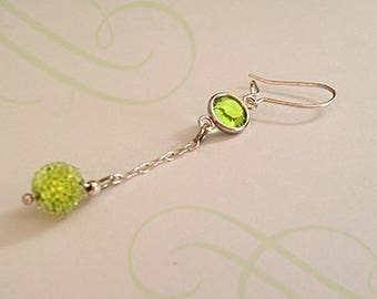 Swarovski peridot 925 Sterling Silver earrings Pearl Crystal and chain
