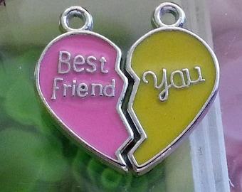 2 pendants heart for Valentine's day 22mmx10mm enamel