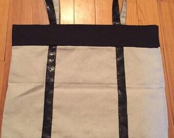 "Tote all ""black sequin braid"" handmade"