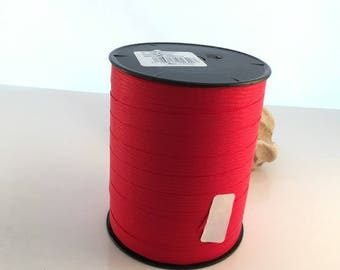 Roll of 250 m of red paper bolduc Ribbon synthetic matte 10mm wide