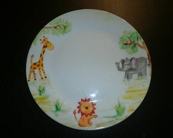 plate painted porcelain elephant, giraffe and lion