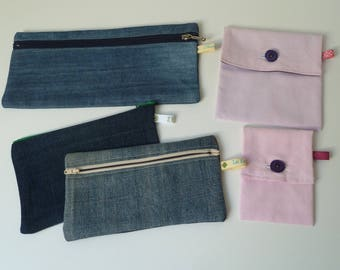 Lot 5 flat pockets in recycled fabric