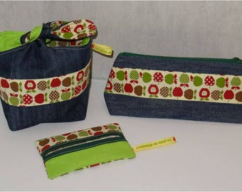 "John ""Full of vitamins"" Trio: knotted pouch, zipper pouch and tissue holder"