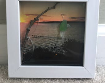 Gone Fishing- Lake Erie sea glass picture frame