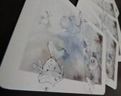 """Cartes postales -  images issues du projet de livre """"Poissons volent"""" - Famile de poissons fous"""