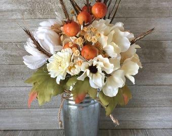 Neutral Fall Floral Arrangement in Rustic Tin Pale, Artificial Flowers, Faux Floral, Home Decor, Fall Decor, Wedding/Shower, Farmhouse Chic