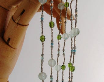 Necklace glass beads, sea green and khaki.