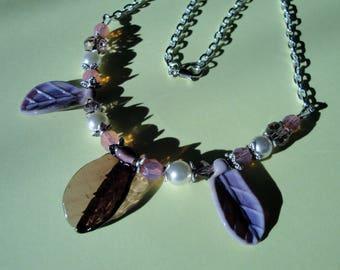 Necklace violet leaves