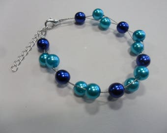 Bracelet pearls turquoise and Navy Blue wedding jewelry