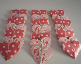 Set of origami hearts: Girly Collection
