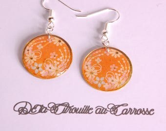 Japanese pattern earrings, orange