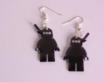 Black ninja earrings