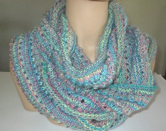 Colorful Infinity Scarf - lightweight knit