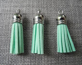 Soft green suede tassel