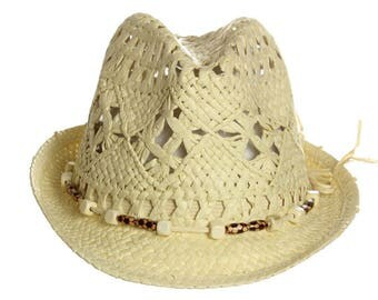 NEW Ladies Summer Fashion Straw Fedora with Bead String - Ivory