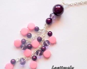 tender long necklace of purple to pink
