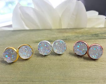 Rainbow Druzy Stud Earrings