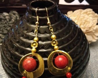 """Ethnic"" golden earrings gold plated hooks"