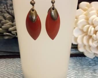 Red sequins and metal bronze