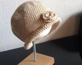Cloche style hat handmade crochet with flower