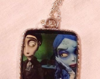 The wedding funeral Emily from Tim Burton Film vintage Goth pin-up resin necklace