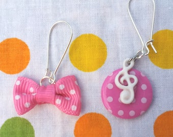 """Earrings """"to the called"""" Musette""""girl"""" - pink and white"""