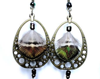 """""""Peacock eggs"""" - Oval connectors, genuine Peacock feather earrings"""