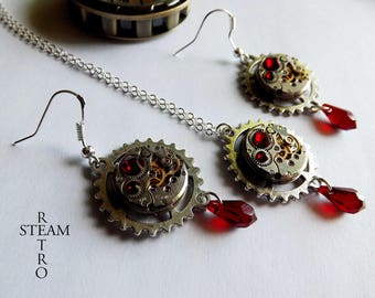 Watch Vintage movement blood red necklace and earrings Swarovski Steampunk - Steampunk ornament - personalized jewelry - gift