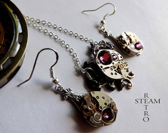 Purple Heart Steampunk necklace and earrings - Steampunk jewelry - heart - Steampunk jewelry set - Christmas gift necklace
