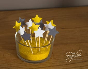 Set of 9 cake toppers - Theme star - christening