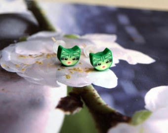 Cat Stud Earrings green jewelry