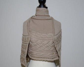Knit shawl pattern, cable knit shawl pattern, crescent Shawl Knitting Pattern, top down shawl pattern, shawl knitting pattern PDF