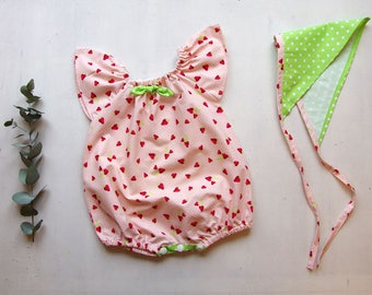 Baby romper baby girl, size 3 months, pink powder and Apple green