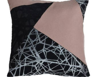 Cushion decoration, unique, Removable cushion, 45 x 45, black, pink and silver