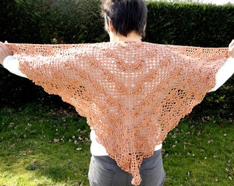 Great for summer, woman cotton and linen beige sand Brown ecru shawl crochet shawl