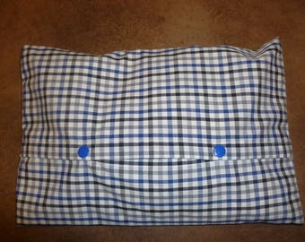 Heating pad removable fabric printed with lines black and blue