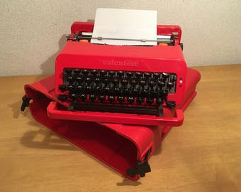 Red Olivetti Valentine Typewriter Rare Working Model Made In Spain 1970's