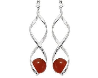 Silver plated swirl earrings - carnelian