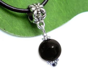 Silver plated sphere pendant - onyx