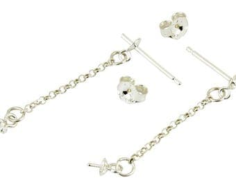 ES-0776 925 Solid Sterling Silver - Pair of Earrings Stud with cup Chain pendand with Bails for half drilled pearl