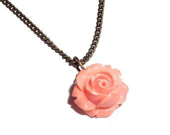 the orange tinted rose bronze necklace