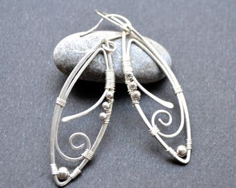Earrings Silver 925/1000 serpentine series 22 .dormeuses