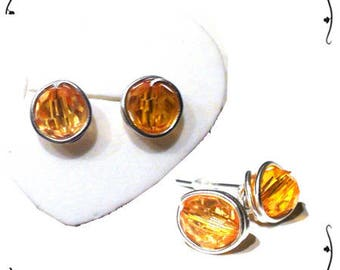 Earrings Silver 925/1000. chips with amber colored stones