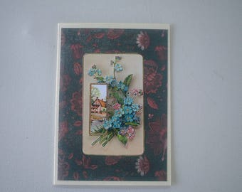 Landscape greeting card with forget-me-not