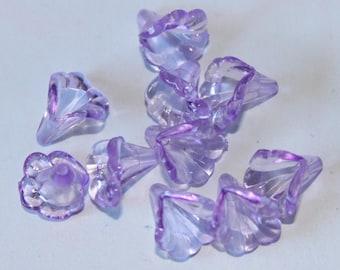 Beads purple acrylic flower, 11 * 10 mm, set of 10