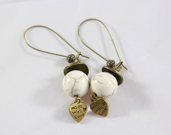 lever back earrings large bronze and White Pearl