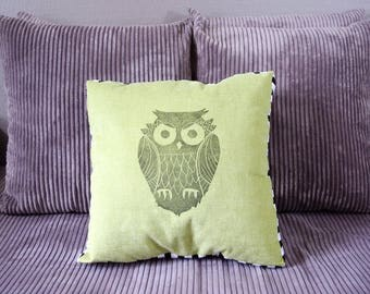 Soft cushion green OWL and stripes pattern