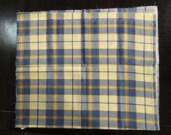 Coupon printed cotton checkered blue and yellow
