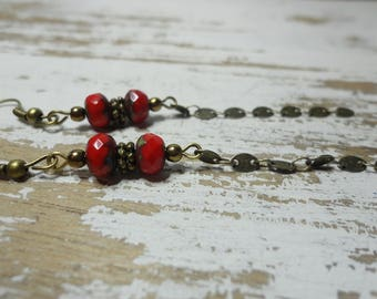 Hanging chain and faceted red beads earrings